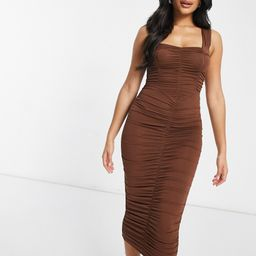 ASOS DESIGN sweetheart neckline ruched midi bodycon dress in chocolate-Brown | ASOS (Global)