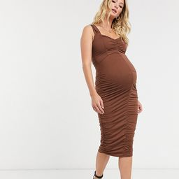 ASOS DESIGN Maternity sweetheart neckline ruched midi bodycon dress in chocolate-Brown | ASOS (Global)