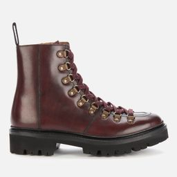 Grenson Women's Exclusive to Coggles Nanette Leather Hiking Style Boots - Burgundy   Coggles (Global)