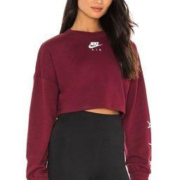 Nike NSW Air Crop Fleece Sweatshirt in Dark Beetroot & White from Revolve.com   Revolve Clothing (Global)