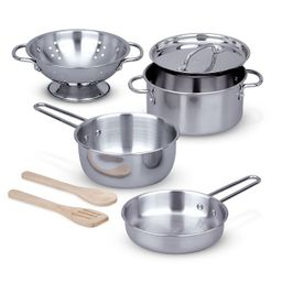 Melissa & Doug Stainless Steel Pots and Pans Pretend Play Kitchen Set for Kids (8pc)   Target