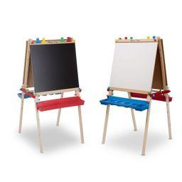 Melissa & Doug Deluxe Standing Art Easel - Dry-Erase Board, Chalkboard, Paper Roller   Target