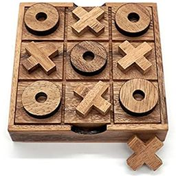 Tic Tac Toe Wooden Board Game Set Classic for Kids Coffee Table Game Family | Amazon (US)