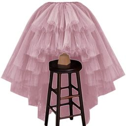 WDPL Women's Puffy Wedding High Low Layered Tulle Asymmetrical Night Out Skirt | Amazon (US)