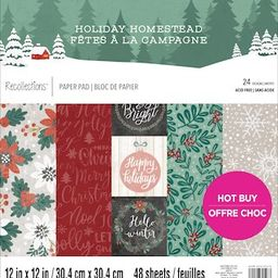 """Holiday Homestead Christmas Paper Pad by Recollections™, 12"""" x 12"""" 