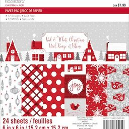 """Red & White Christmas Paper Pad by Recollections™, 6"""" x 6"""" 