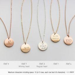 Initial necklace letter monogram jewelry alphabet circle | Etsy | Etsy (US)