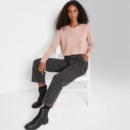 Women's Long Sleeve Cropped Thermal Henley T-Shirt - Wild Fable™ | Target