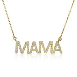 BMMYE Dainty Letter Necklace with Cubic Zirconia Pendant Unique Necklace Gold & Silver Charm Scri... | Amazon (US)