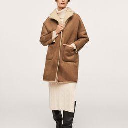 Reversible faux shearling-lined coat | MANGO (US)