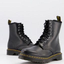 Dr Martens Atlas 8 eye fluff lined boots in black | ASOS (Global)