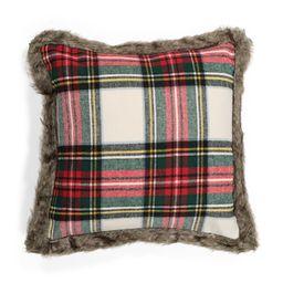 20x20 Faux Fur Trimmed Plaid Pillow | TJ Maxx
