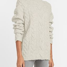 Cable Knit Mock Neck Sweater Women's Silver Heather Gray | Express