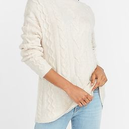 Cable Knit Mock Neck Sweater White Women's XL | Express