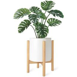 """Isley Mid Century Flower Plant Stand George Oliver Color: Natural, Size: 14"""" H x 10"""" W x 10"""" D 