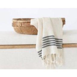 Cream & Black Striped Hand Towel, Turkish Tea Towels, Kitchen Towels For Bathroom, Fringed | Etsy (US)