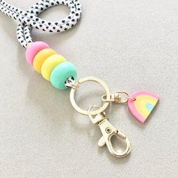 Rainbow Charm Rainbow Lanyard Wristlet Strap / Teacher Lanyard / Custom wedding gift / Keychain /...   Etsy (US)