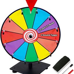 Klvied 12 Inch Heavy Duty Prize Wheel, 12 Slot Tabletop Color Spinning Wheel with 2 Model Clicker...   Amazon (US)