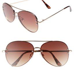 60mm Oversize Mirrored Aviator Sunglasses | Nordstrom