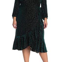 Calvin Klein | Burnout Velvet Faux Wrap Midi Dress | Nordstrom Rack | Nordstrom Rack