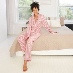 Women's Striped Perfectly Cozy Flannel Long Sleeve Notch Collar Top and Pants Pajama Set - Stars ...   Target