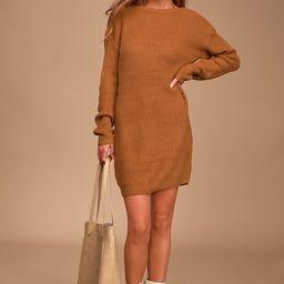 Bringing Sexy Back Camel Backless Sweater Dress   Lulus (US)