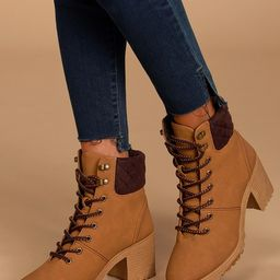 Annella Tan Nubuck Lace-Up Ankle Boots   Lulus (US)