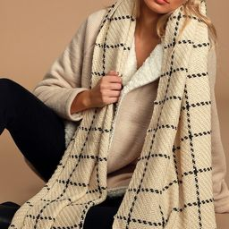 Cozy Afternoon Beige and Black Plaid Knit Scarf   Lulus (US)