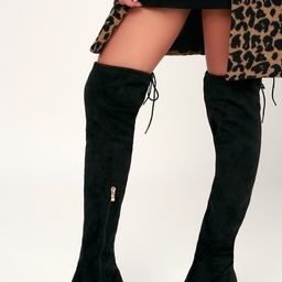 Di Black Suede Over the Knee Boots   Lulus (US)