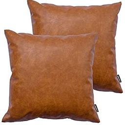 HOMFINER Faux Leather Throw Pillow Covers, 18 x 18 inch Set of 2 Thick Cognac Brown Modern Solid ... | Amazon (US)
