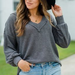 Here For You Charcoal Gray Waffle Knit Top | The Mint Julep Boutique
