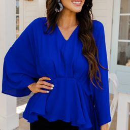 Tell It All Royal Blue Kimono Sleeve Blouse | The Mint Julep Boutique