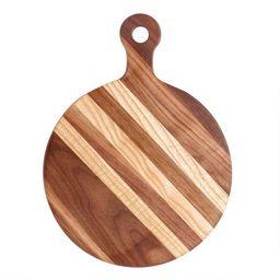 Small Round Walnut Wood Paddle Cutting Board | World Market