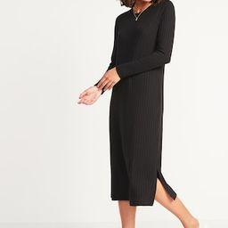 Rib-Knit Long-Sleeve Midi Shift Dress for Women | Old Navy (US)