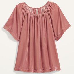 Shirred Velvet Short-Sleeve Top for Women | Old Navy (US)