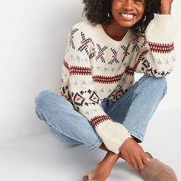 Cozy Fair Isle Blouson-Sleeve Sweater for Women   Old Navy (US)