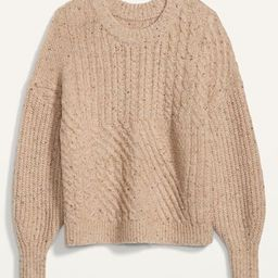 Cozy Cable-Knit Blouson-Sleeve Sweater for Women | Old Navy (US)