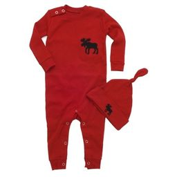 Hatley Baby Romper Red Moose Trailing a Little Behind | Well.ca