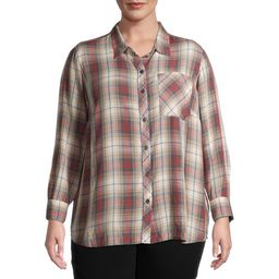 Terra & Sky Women's Plus Size Plaid Pocket Button Down Shirt   Walmart (US)