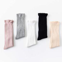 CozyWay Knee High Socks Newborn Infants Toddlers Girls 5 Pack Tube Ruffled Uniform Long Stockings | Amazon (US)