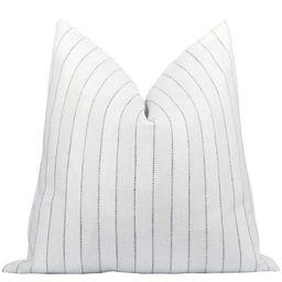 Woodbridge Chalk Woven Stripe Pillow   Land of Pillows