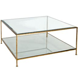 Hammered Gold Leaf Square Coffee Table with Beveled Glass Tops   Burke Decor
