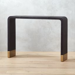 Tyler Leather Console Table with Stitch Detail + Reviews   CB2   CB2