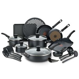 T-fal Kitchen Solutions 22-Piece Nonstick Cookware Set, Thermospot, Black | Walmart (US)