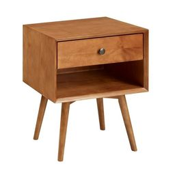 Mid-Century 1 Drawer Solid Wood Nightstand  - Saracina Home | Target