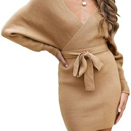 ZESICA Women's Long Batwing Sleeve Wrap V Neck Knitted Backless Bodycon Pullover Sweater Dress wi... | Amazon (US)
