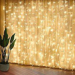 Curtain Lights, Upgrade LED Window Fairy Lights 8 Lighting Modes, Window Icicle Xmas String Light... | Amazon (US)
