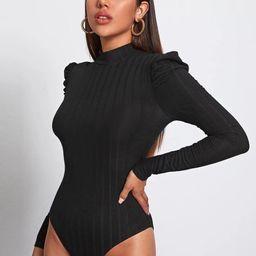 SHEIN Mock Neck Rib-knit Tee Bodysuit   SHEIN