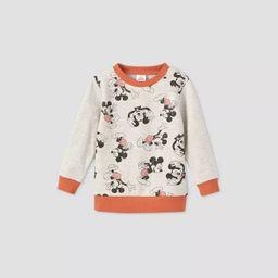 Toddler Boys' Mickey Mouse Fleece Crewneck Sweatshirt - Beige | Target