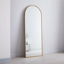 "Metal Frame Arched 74"" Floor Mirror, Antique Brass | West Elm (US)"